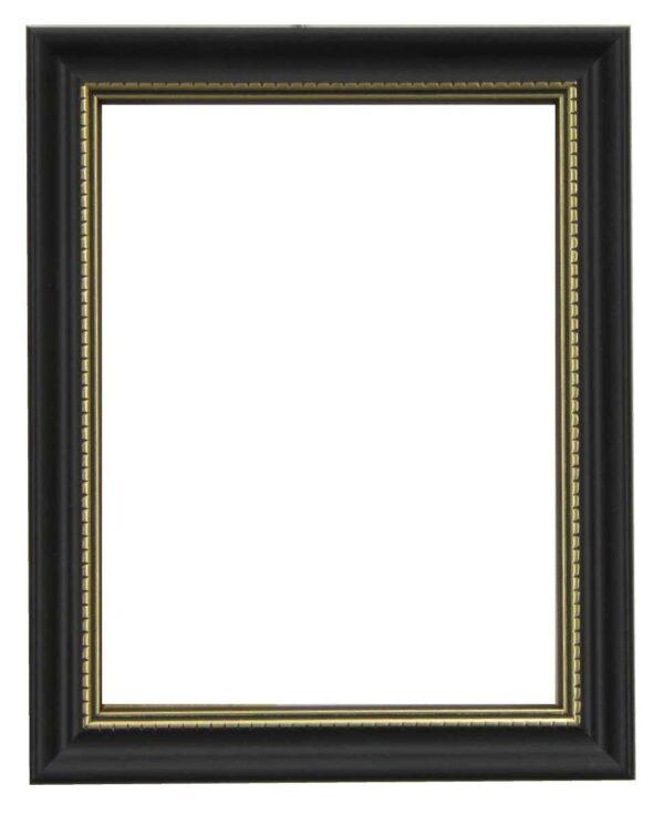 Bilderrahmen aus Holz, Klosterarbeiten, Farbe Schwarz, goldene Ornamente