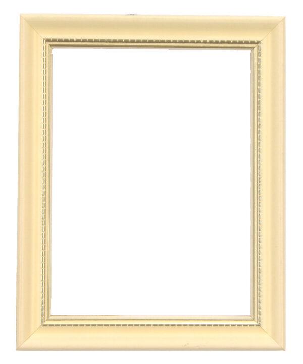 Bilderrahmen aus Holz, Klosterarbeiten, Farbe Weiß, goldene Ornamente