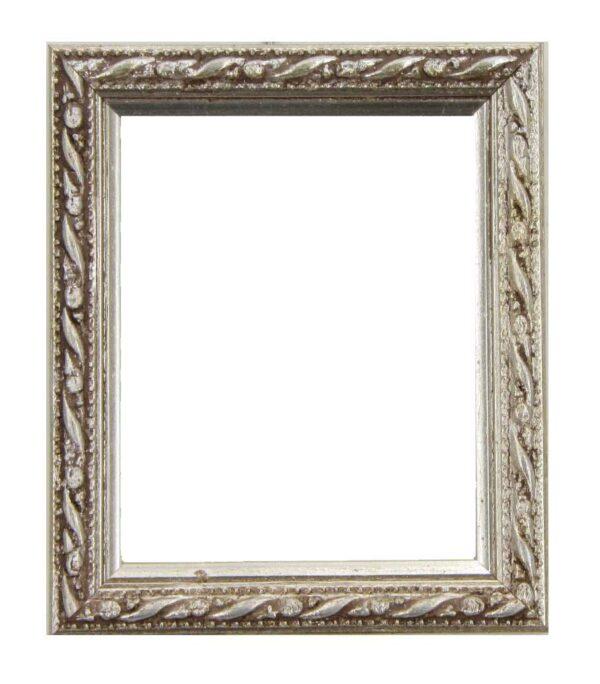 Bilderrahmen aus Holz, Klosterarbeiten, Farbe Silber, Patinierung