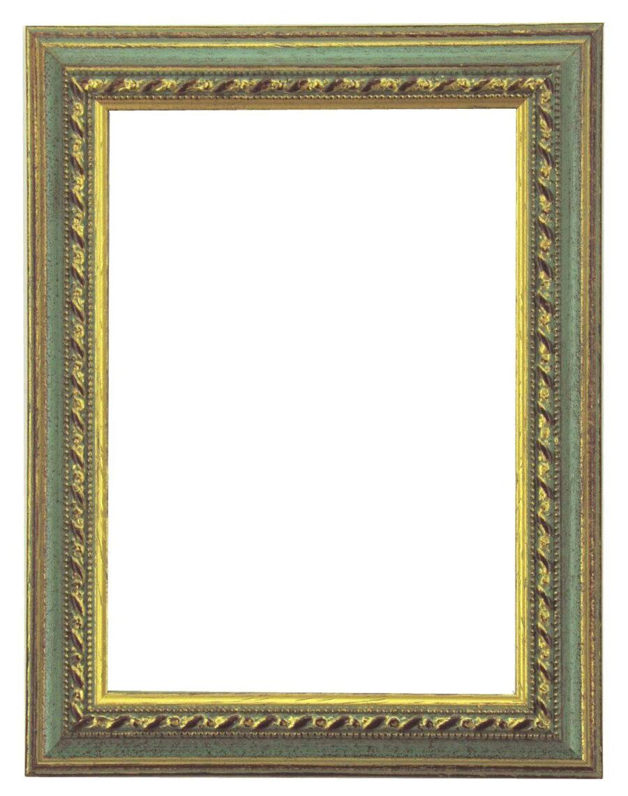 Bilderrahmen aus Holz, Klosterarbeiten, Farbe Grün, Goldene Ornamente, Patinierung