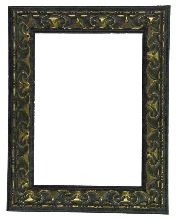 Bilderrahmen aus Holz, Klosterarbeiten, Farbe Schwarz, goldene Elemente, Patinierung