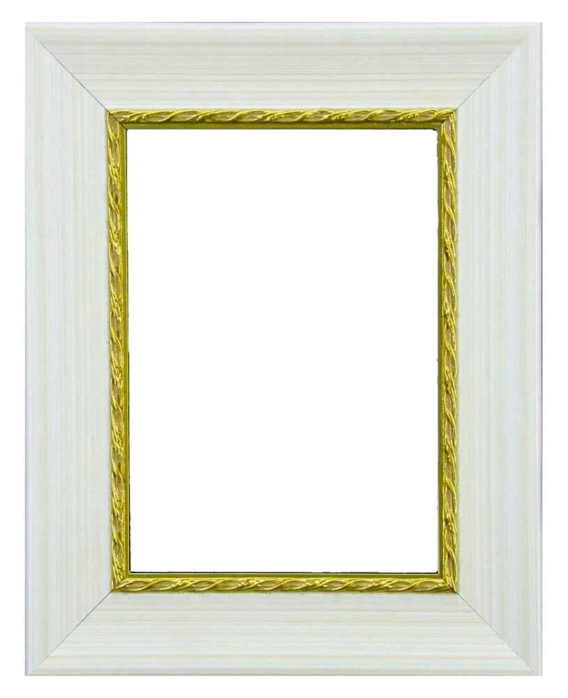 Bilderrahmen aus Holz, Klosterarbeiten, Farbe Creme, goldener Rand innen