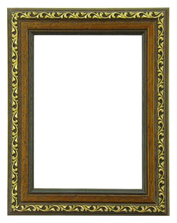 Bilderrahmen aus Holz, Klosterarbeiten, Farbe Braun, goldene Ornamente