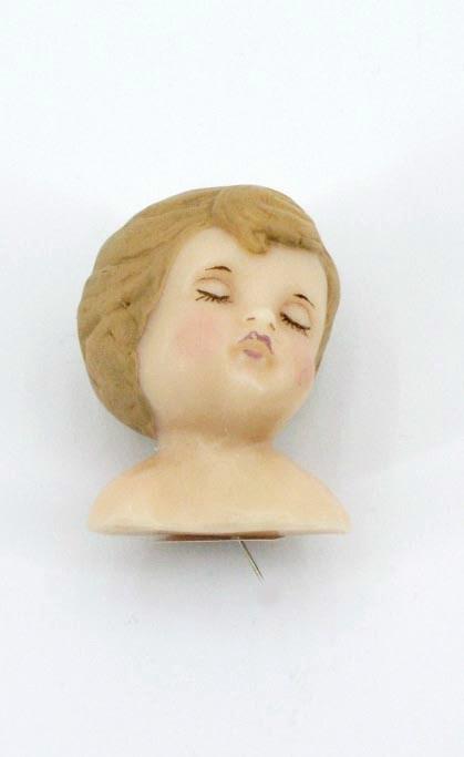 Wachskopf Engel für Klosterarbeiten, handbemalt, 5cm