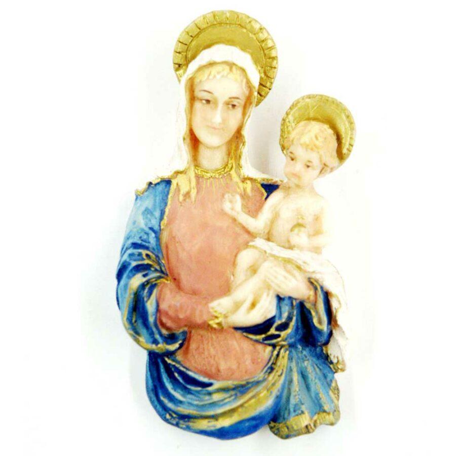 Brustmadonna mit Kind und Heiligenschein in Wachs