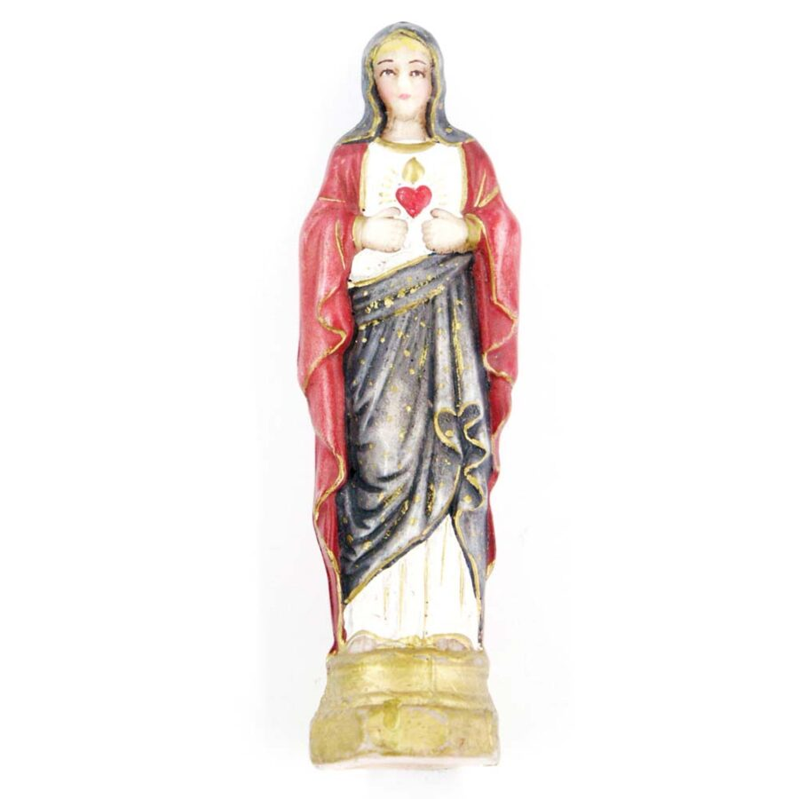 Madonna Herz Maria für Klosterarbeiten in Wachs 12cm rot-blau