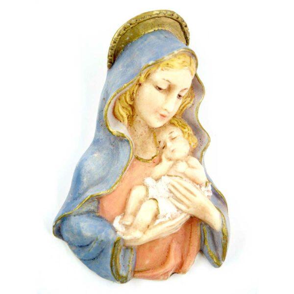 Brustmadonna mit Kind und Heiligenschein in handbemaltem Wachs