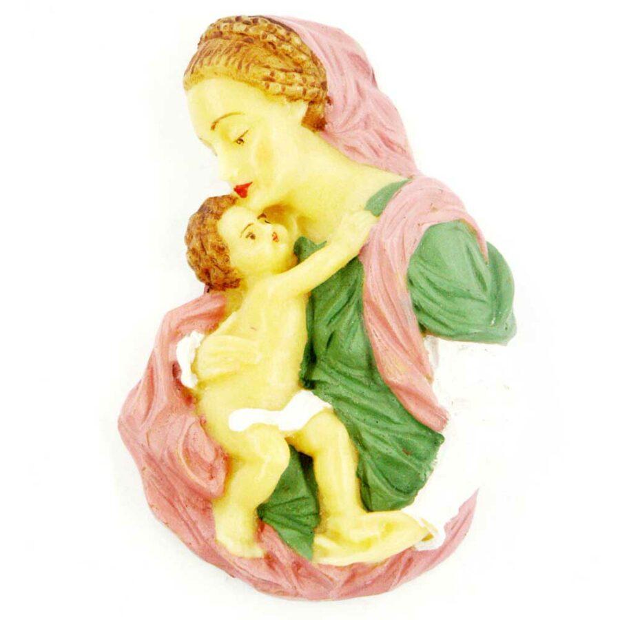 Brustmadonna Madonna mit Kind in handbemaltem Wachs