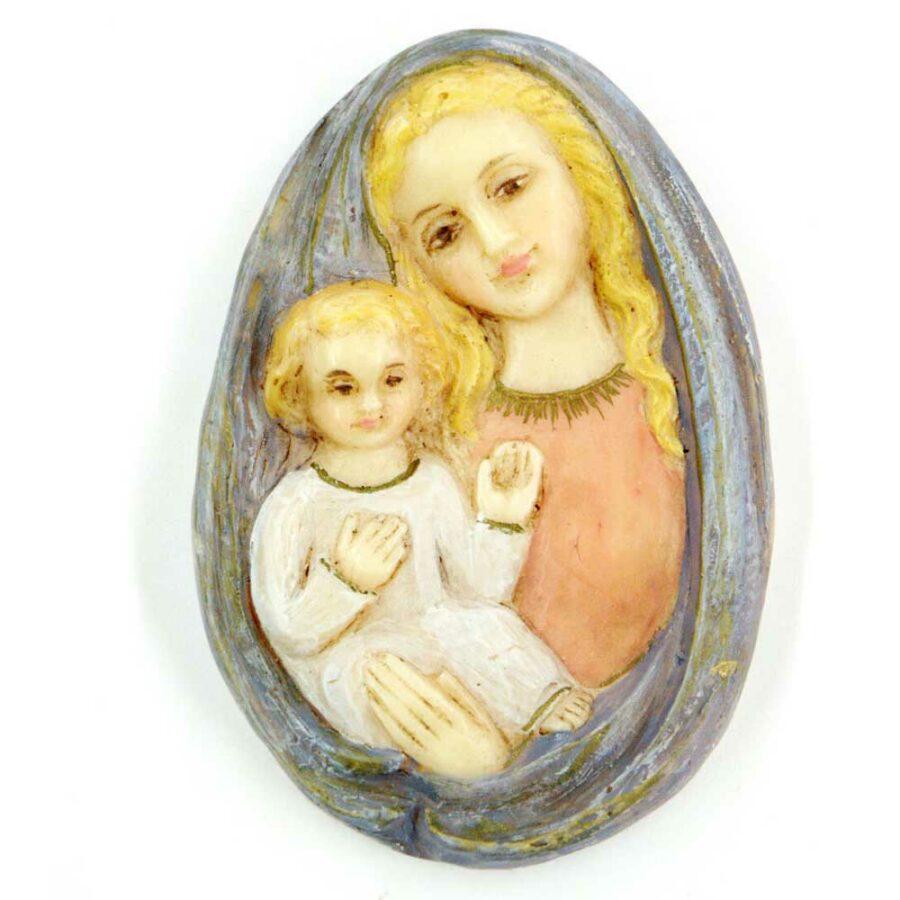 Medaillion mit Madonna und Kind in handbemaltem Wachs