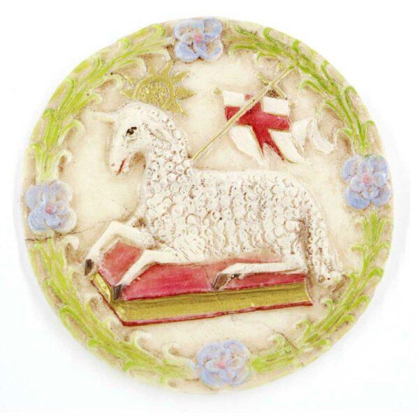 Medaillion mit Lamm Gottes auf Buch liegend in Wachs