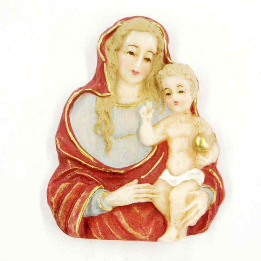 Brustmadonna mit Kind in handbemaltem Wachs