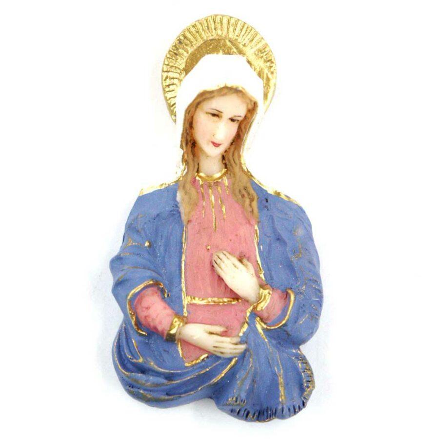 Brustmadonna mit Heiligenschein aus handbemaltem Wachs für Klosterarbeiten