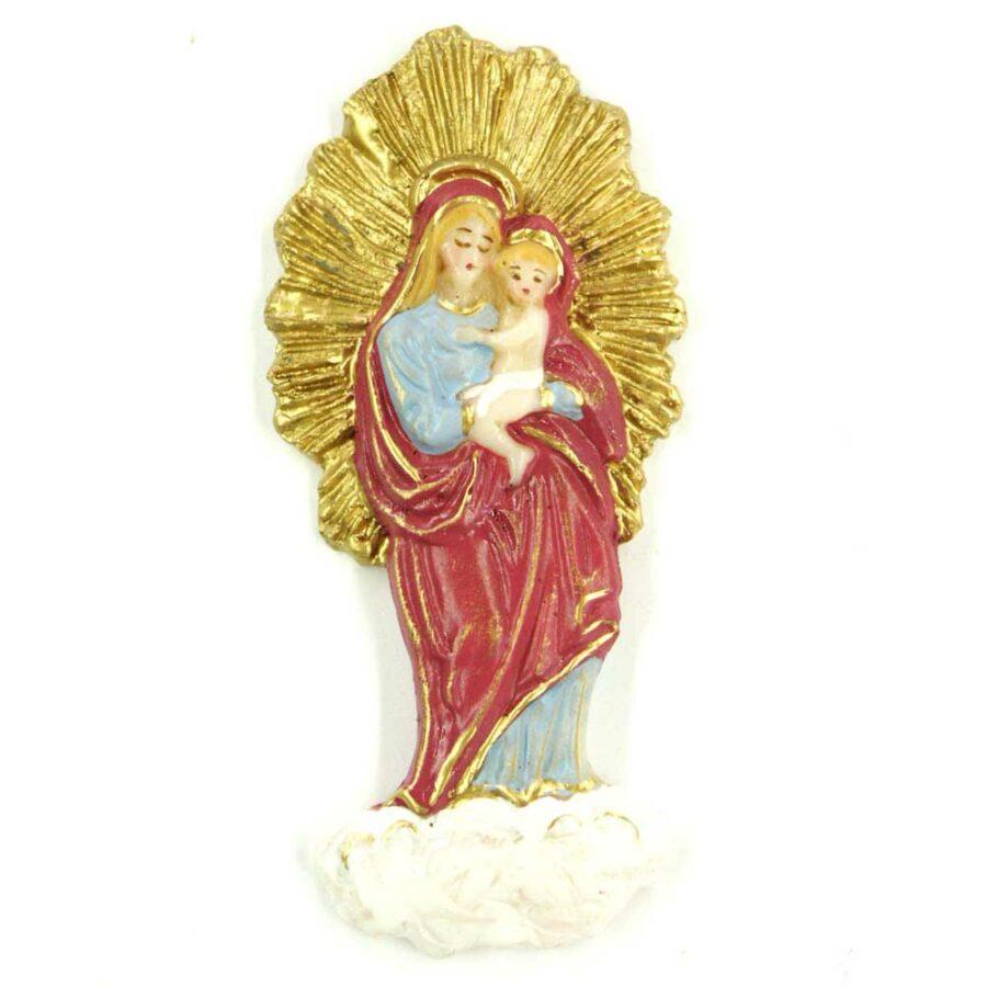 Madonna mit Kind auf der Wolke und mit Heiligenschein aus Wachs