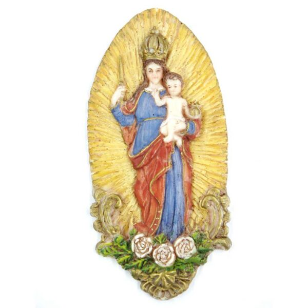 Medaillion mit Patrona Bavaria aus Heiligenschein aus Wachs