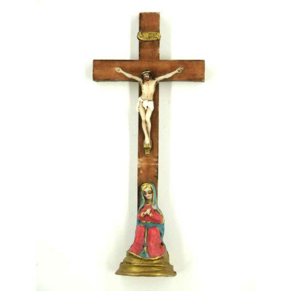 Wachskreuz mit Pieta aus Sockel für Klosterarbeiten