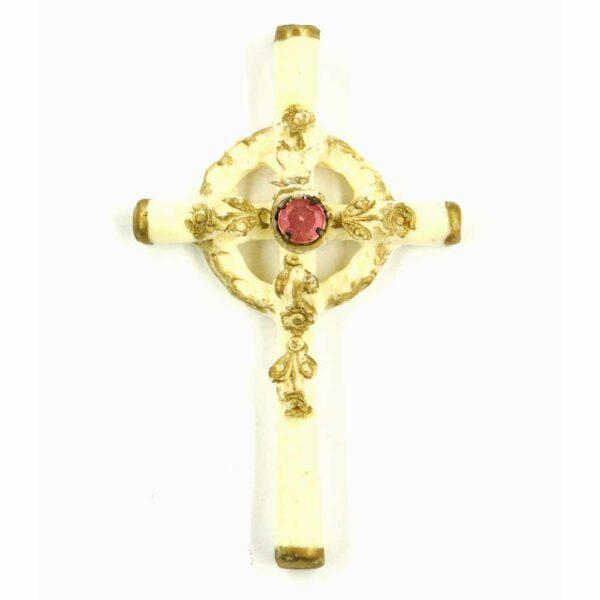 Kreuz mit Straßstein in elfenbein Farben aus Wachs