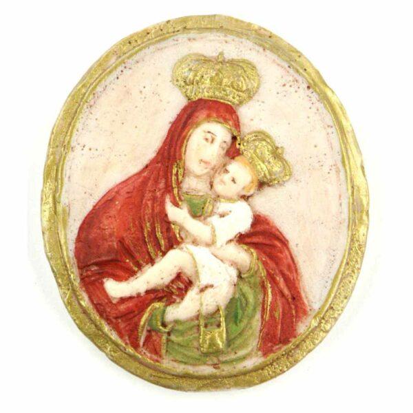 Medaillion mit Madonna mit Kind und Krone aus Wachs