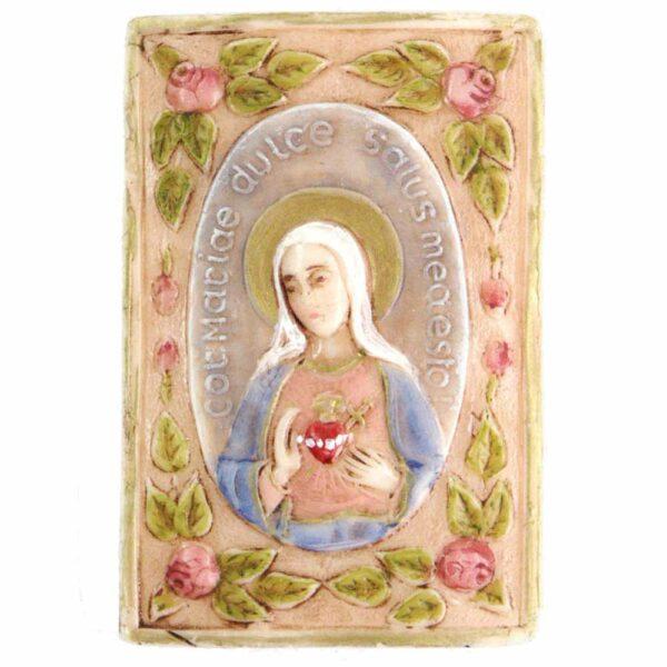 Medaillion mit Herz Maria im Rosenrahmen aus handbemaltem Wachs