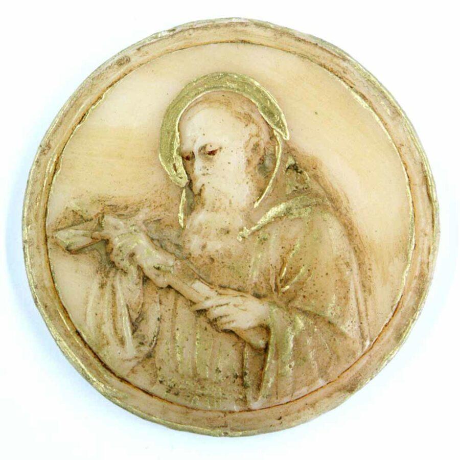Medaillion mit Bruder Konrad in patiniertem Wachs für Klosterarbeiten