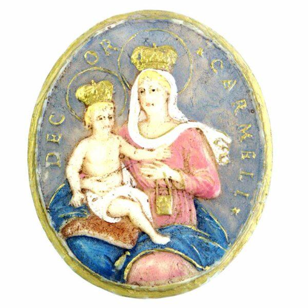 Medaillion mit Madonna und Kind aus handbemaltem Wachs