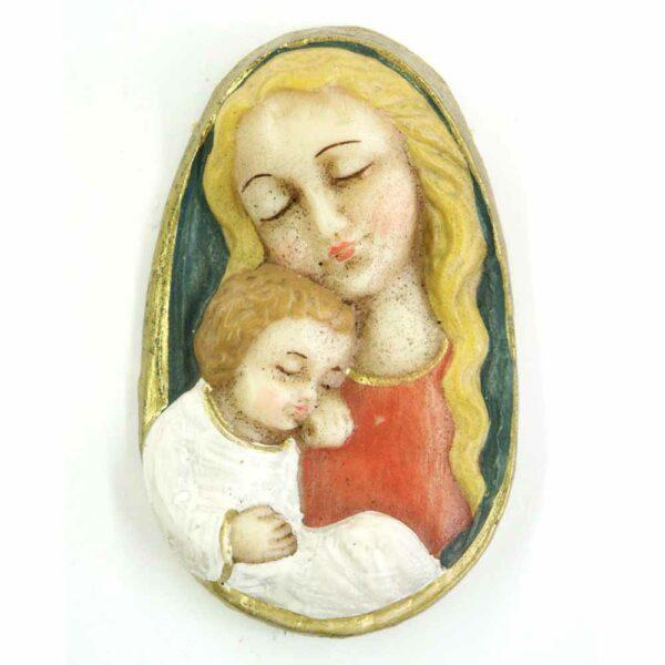 Medaillion mit Madonna und Kind in ovaler Form aus Wachs