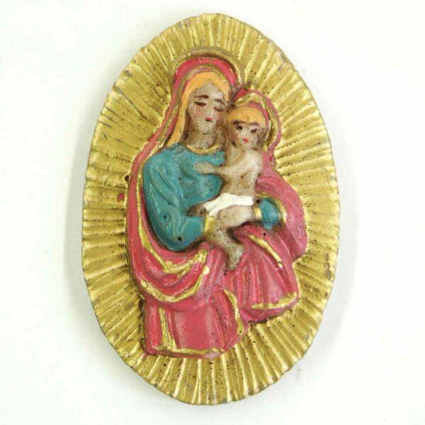 Medaillionn mit Madonna auf Heiligenschein aus Wachs