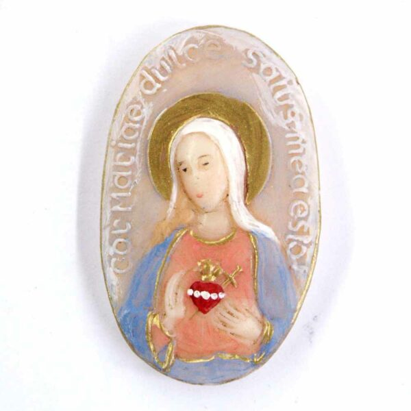 Medaillion mit Herz Maria in ovaler Form aus Wachs