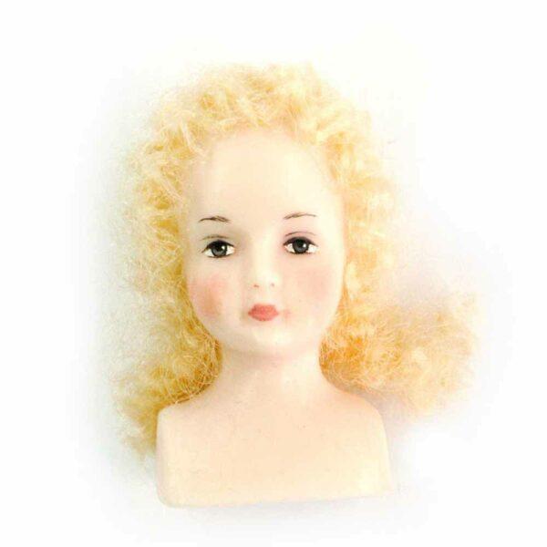 Engelkopf aus Wachs mit Haaren für Rauschgoldengel