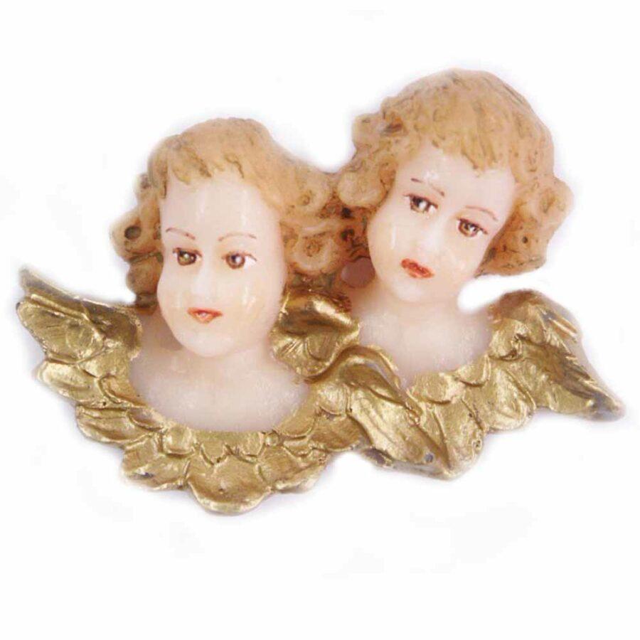 doppelter Engelkopf mit Flügel aus Wachs für Klosterarbeiten