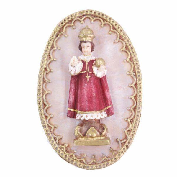Medaillion mit Prager-Jesulein und goldenem Bordürenrand aus Wachs