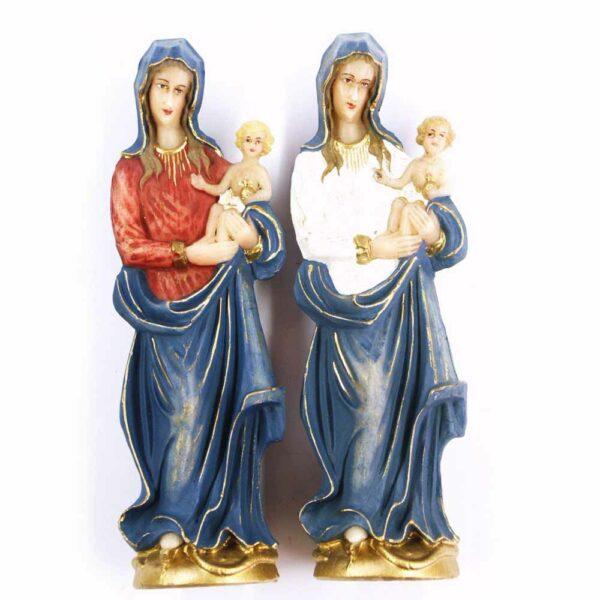 Marienstatue mit Kind aus handbemaltem Wachs