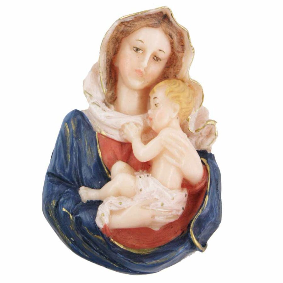 Brustmadonna mit Kind in handbemaltem Wachs für Klosterarbeiten