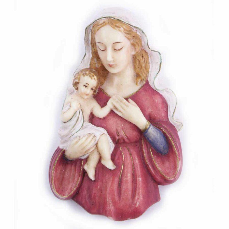 Brustmadonna mit Kind am Arm sitzend in Wachs