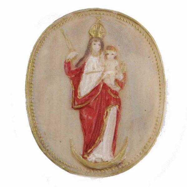 Medaillion mit Sichermadonna aus handbemaltem Wachs