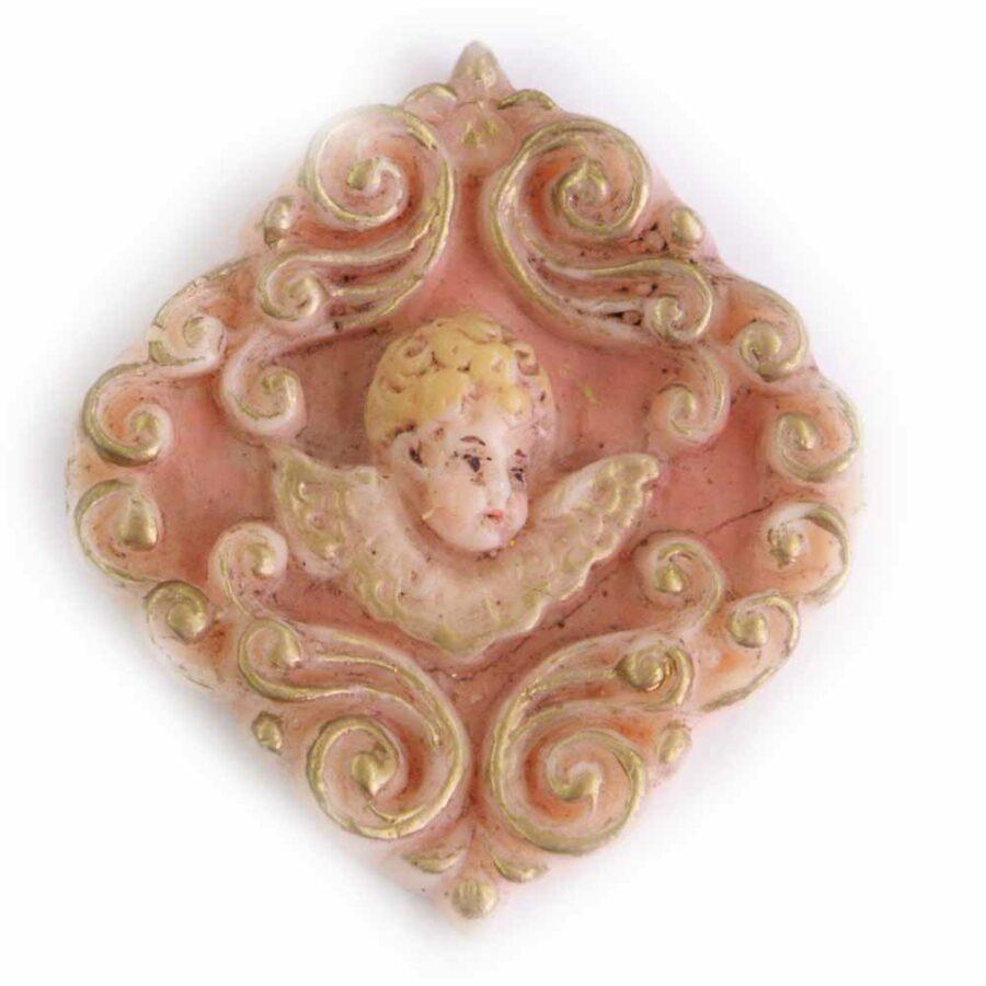 Medaillion mit Engelkopf im Barockrahmen aus Wachs für Klosterarbeiten