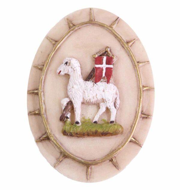 Medaillion mit Lamm und Fahne in ovaler Form aus Wachs