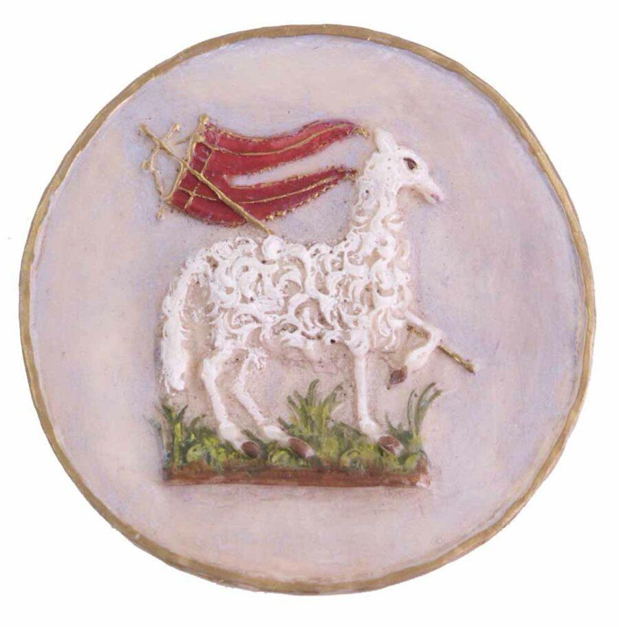 Medaillion mit Lamm und Fahne in Wachs für Klosterarbeiten