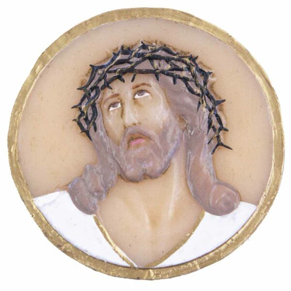 Medaillion mit Christuskopf und Dornenkrone aus Wachs
