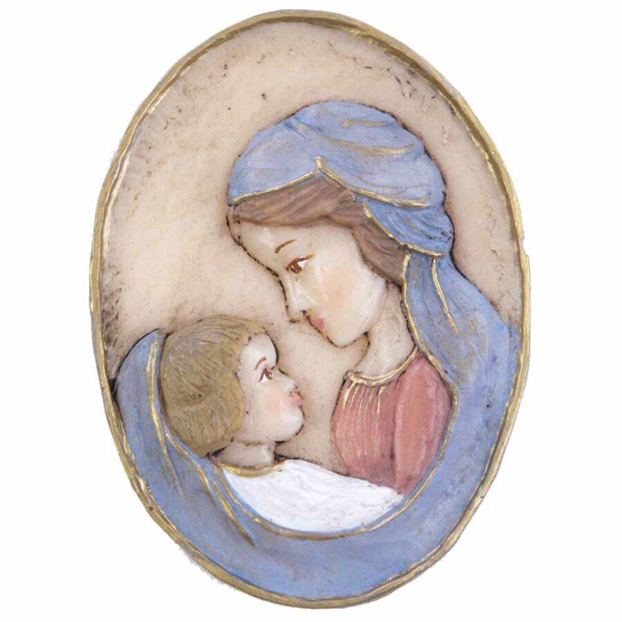 Medaillion Madonna mit Kind in ovaler Form aus Wachs