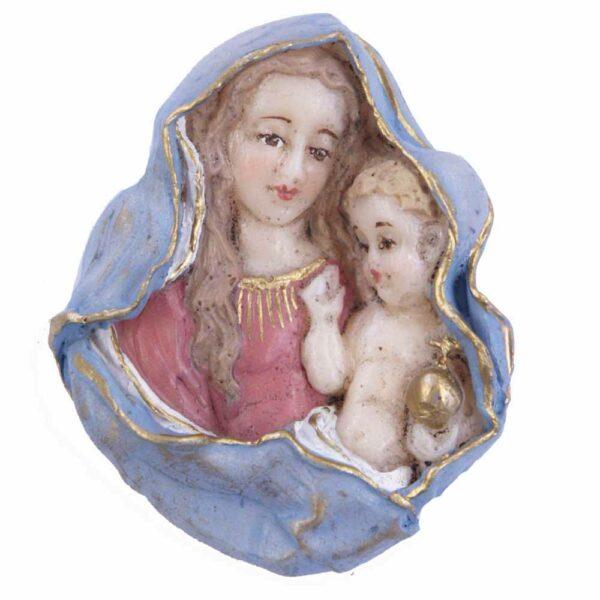 Brustmadonna mit Kind aus handbemaltem Wachs