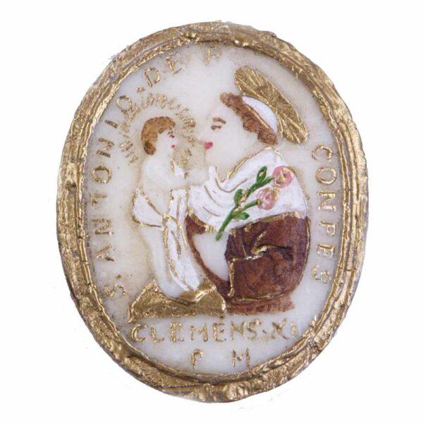 Medaillion mit Hl.Antonius in Wachs