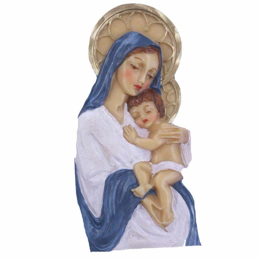 Madonna mit Kind und Heiligenschein in handbemaltem Wachs