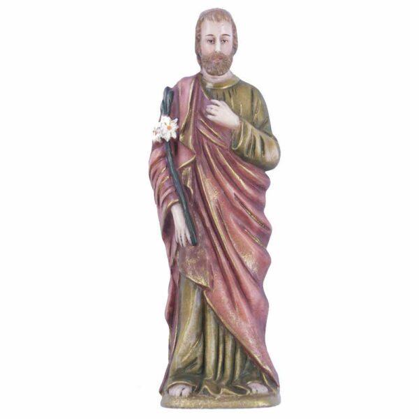 Josef mit Lilienstrauß als Statue aus handbemaltem Wachs