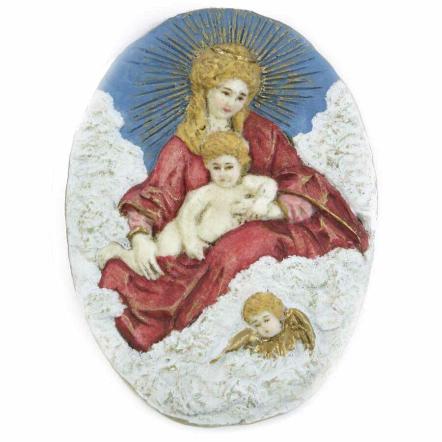 Medaillion mit Wolkenmadonna und Engel aus Wachs