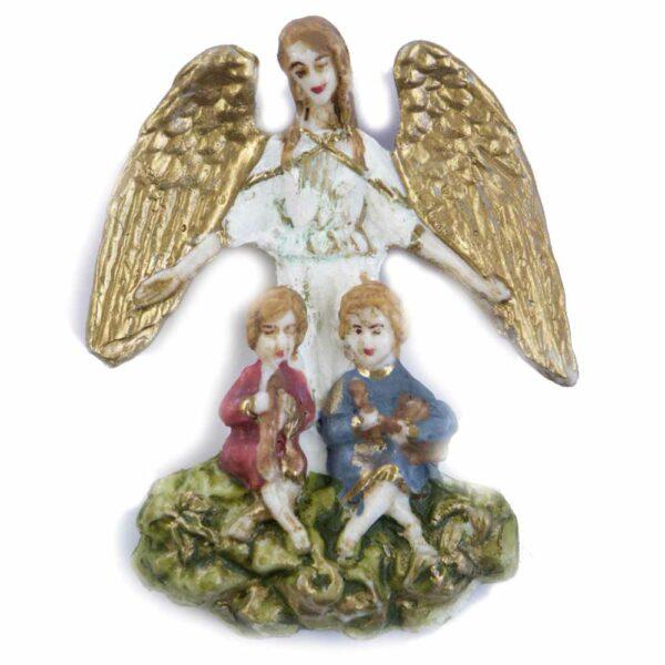Schutzengel mit Kinder aus handbemaltem Wachs für Klosterarbeiten