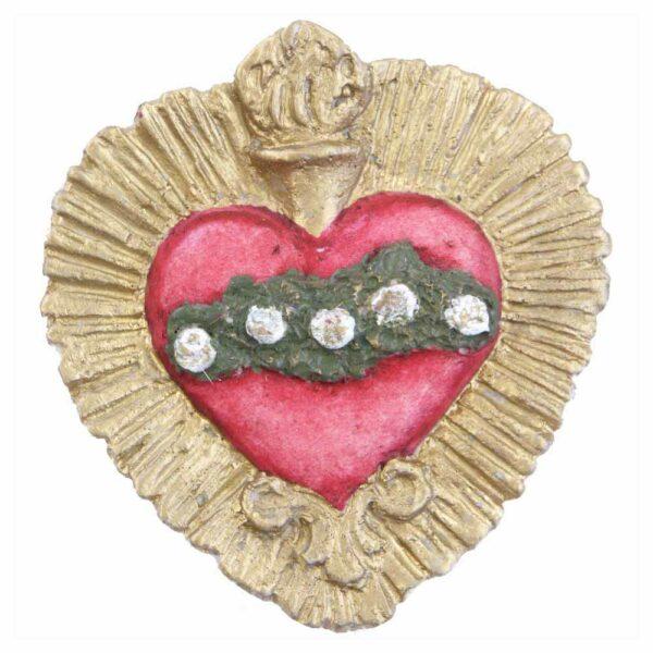 flammendes Herz mit einer Blumenranke aus Wachs für Klosterarbeiten