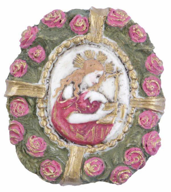 Medaillion mit Madonna in einer Rosenumrahmung aus Wachs