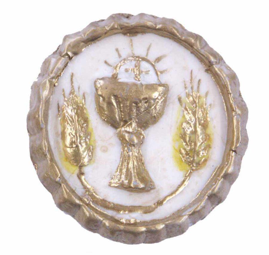 Medaillion mit Brotsegen in runder Form aus Wachs