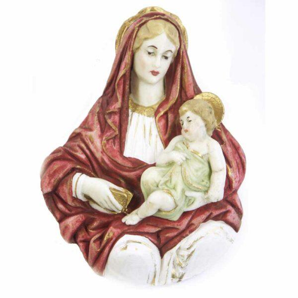 Brustmadonna mit Kind aus handbemaltem Wachs für Klosterarbeiten