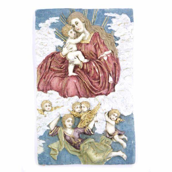 Medaillion Wolkenmadonna mit Engel in handbemaltem Wachs